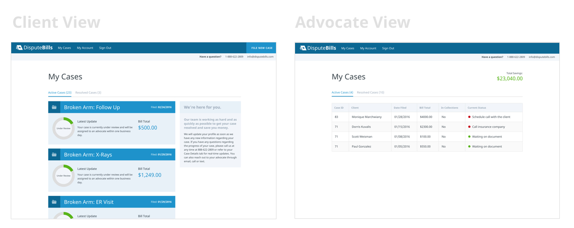 DisputeBills client and advocate app views.