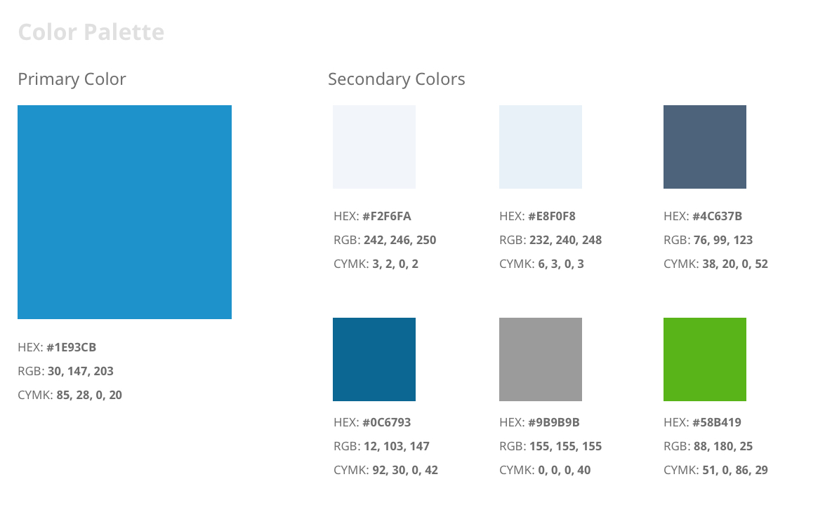 DisputeBills color palette that is made up of blues, blue-greys, and green.